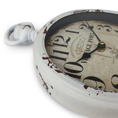 Victory Vintage Port FOB Watch Distressed Metal Wall Clock White 28cm CHH 233 5