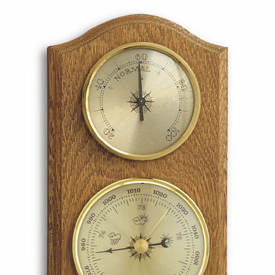TFA Curved Weather Station Solid Oak Brown 27cm Top 20.1000.01