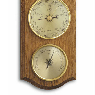 TFA Curved Weather Station Solid Oak Brown 27cm Bottom 20.1000.01
