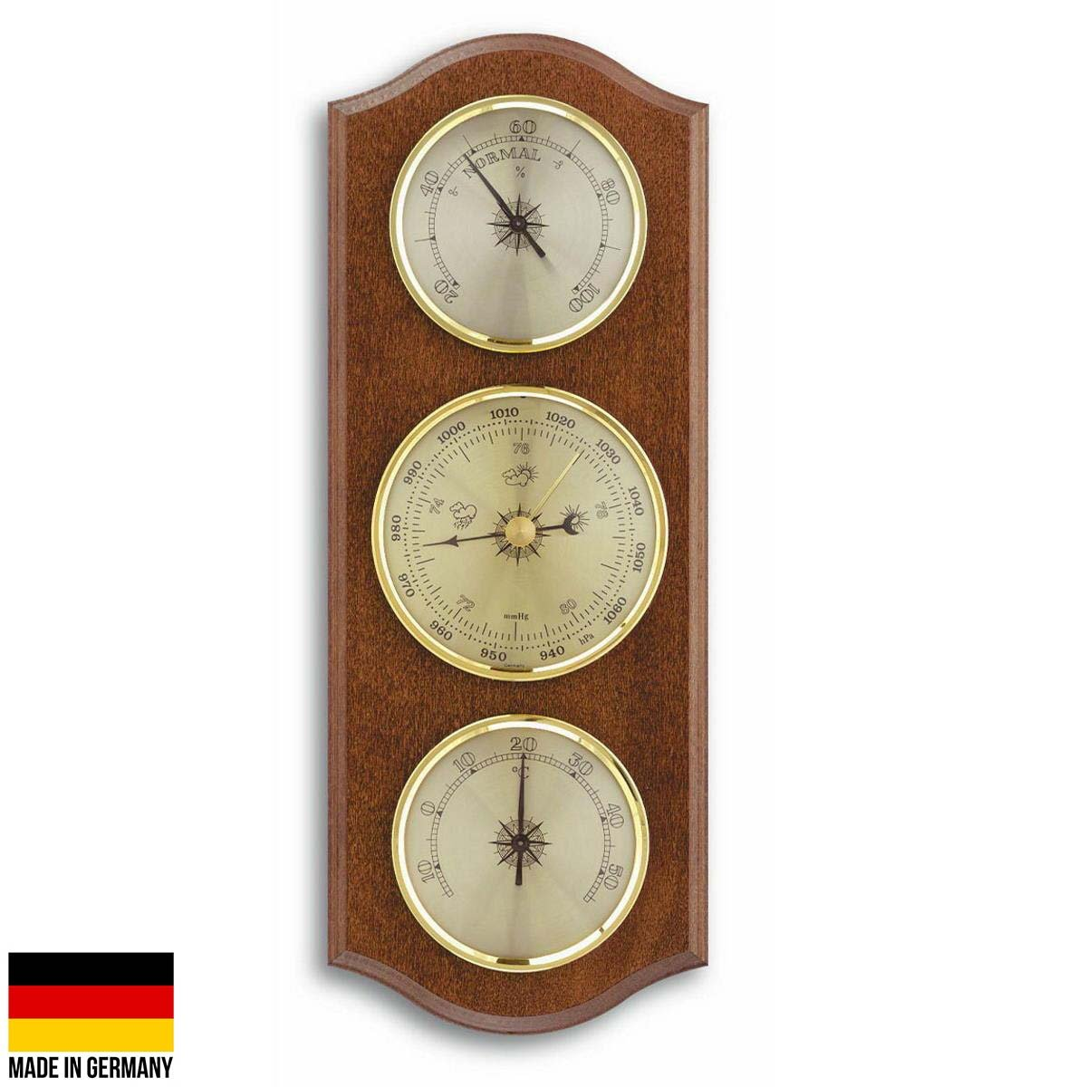 TFA Curved Weather Station Walnut Brown 27cm Front 20.1000.03 Front
