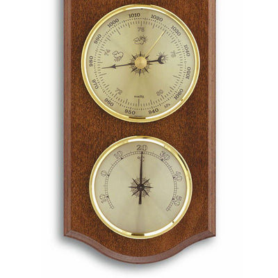 TFA Curved Weather Station Walnut Brown 27cm Front 20.1000.03 Bottom