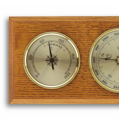 TFA Flat Weather Station Solid Oak Brown 28cm 20.1001 Left