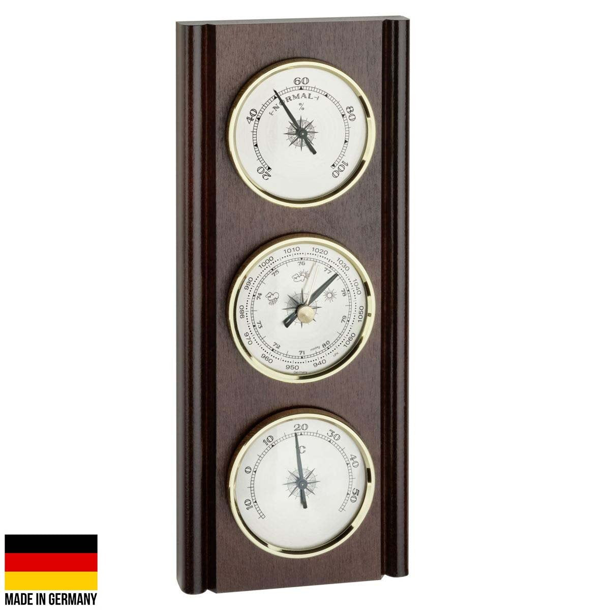 TFA Upright Weather Station Walnut Brown 27cm Front 20.1002.03