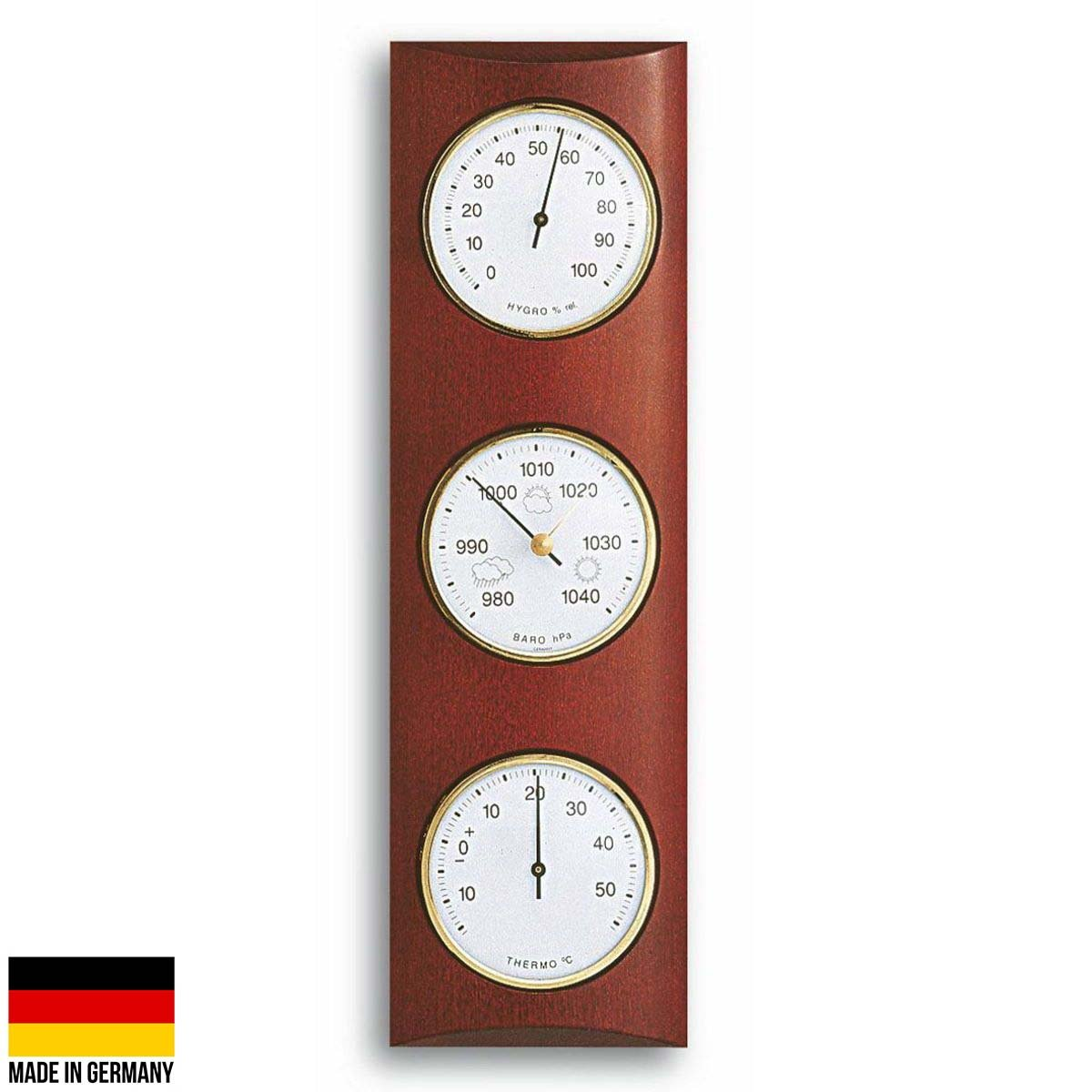 TFA Germany Gordon Analogue Solid Wood Weather Station Mahogany 35cm 20.1028.04 Front