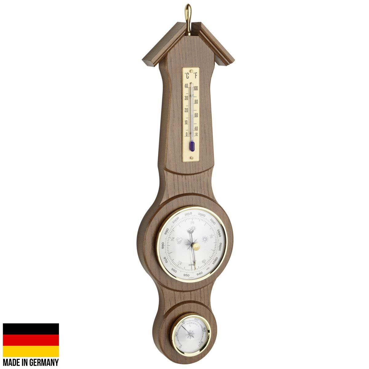 TFA Sheraton Weather Station Rustic Solid Oak Finish 39cm 20.1040.01 Front