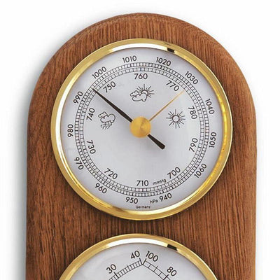 TFA 3 in 1 Weather Station Solid Oak Finish 17cm 20.1051 Top