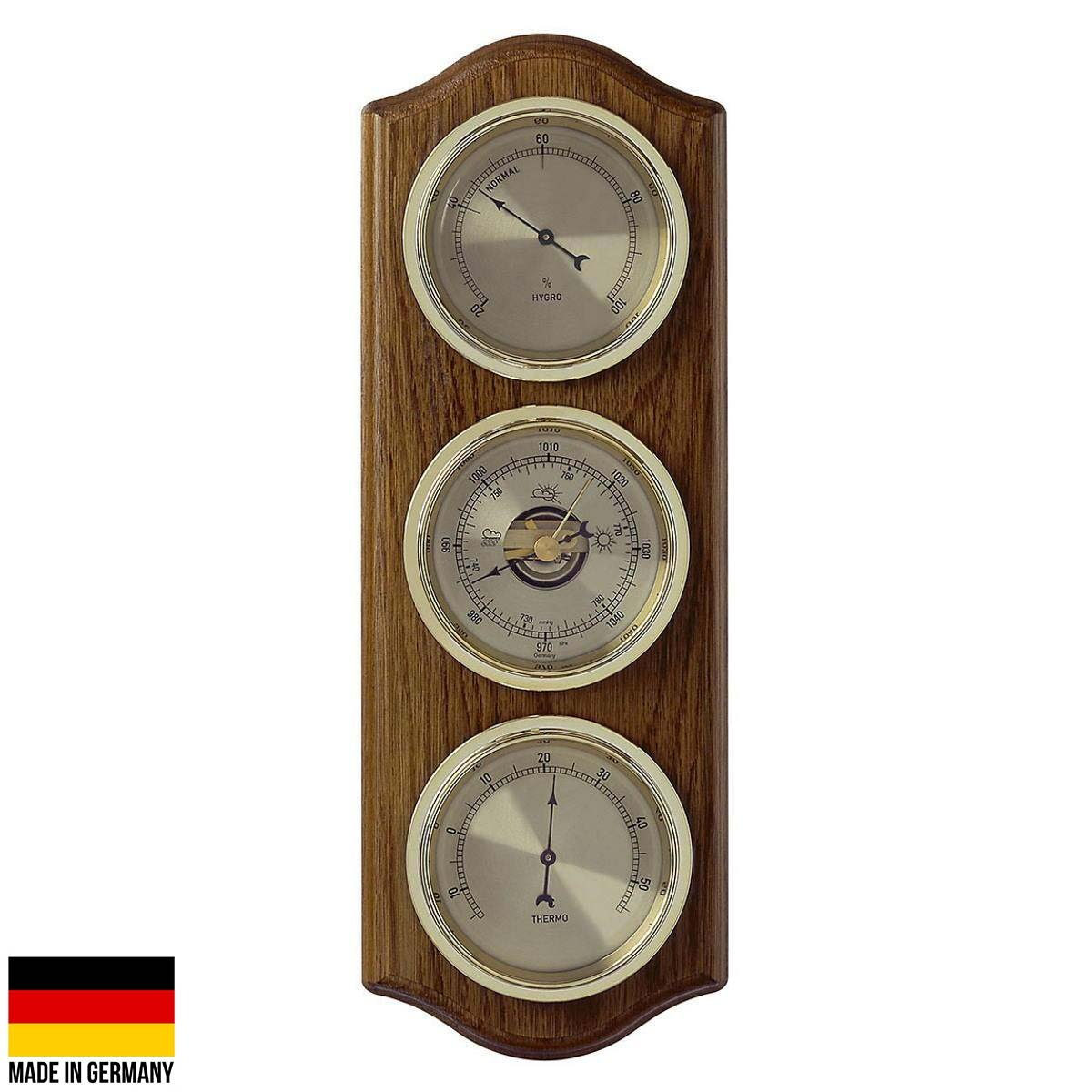 TFA Curved Domatic Weather Station Solid Oak Brown 33cm Front 20.1076.01B