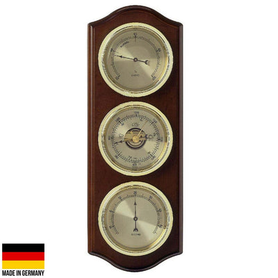 TFA Curved Domatic Weather Station Walnut Brown 33cm Front 20.1076.03B