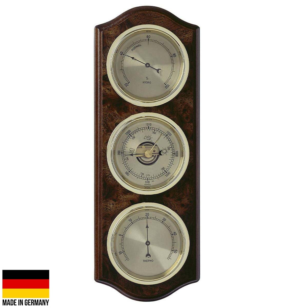 TFA Curved Domatic Weather Station Root Timber Nut Brown 33cm Front 20.1076.20B
