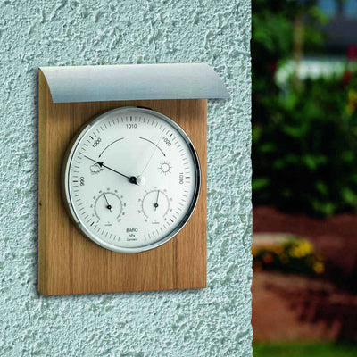 TFA Domatic Indoor and Outdoor Weather Station Oiled Oak 26cm 20.1079.01 Lifestyle
