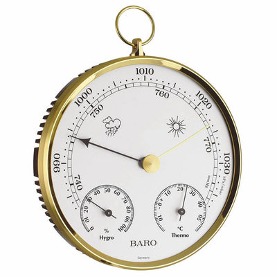 TFA Round Domatic FOB Weather Station, Brass Finish, 15cm