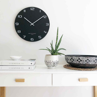 One Six Eight London Nero Wall Clock, Black, 60cm