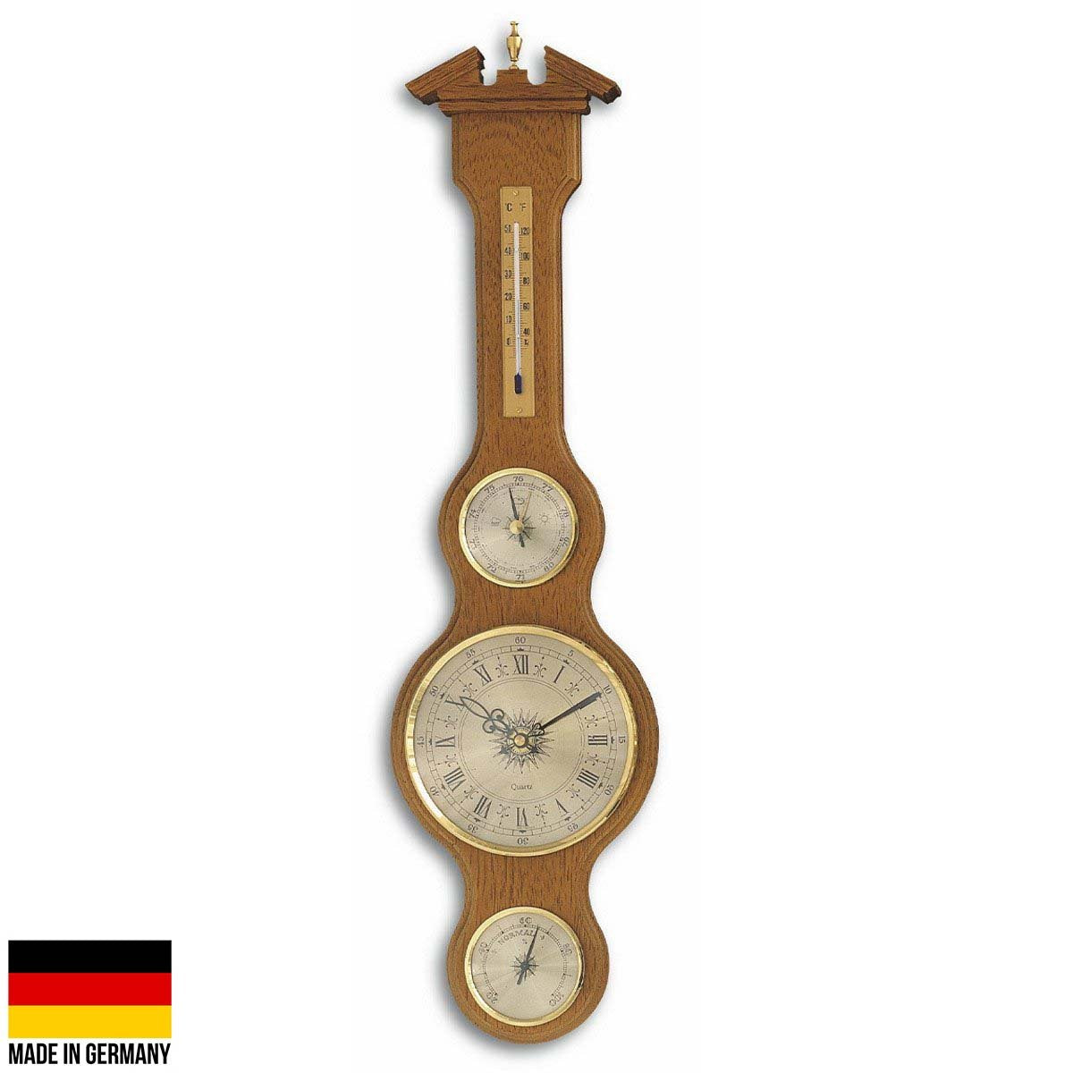 TFA Sheraton Clock Weather Station Solid Oak Finish 60cm 45.3004.01 Front