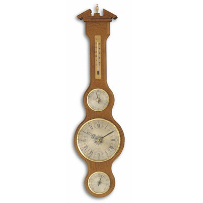 TFA Sheraton Clock Weather Station, Solid Oak Finish, 60cm