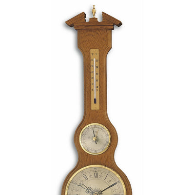 TFA Sheraton Clock Weather Station Solid Oak Finish 60cm 45.3004.01 Top