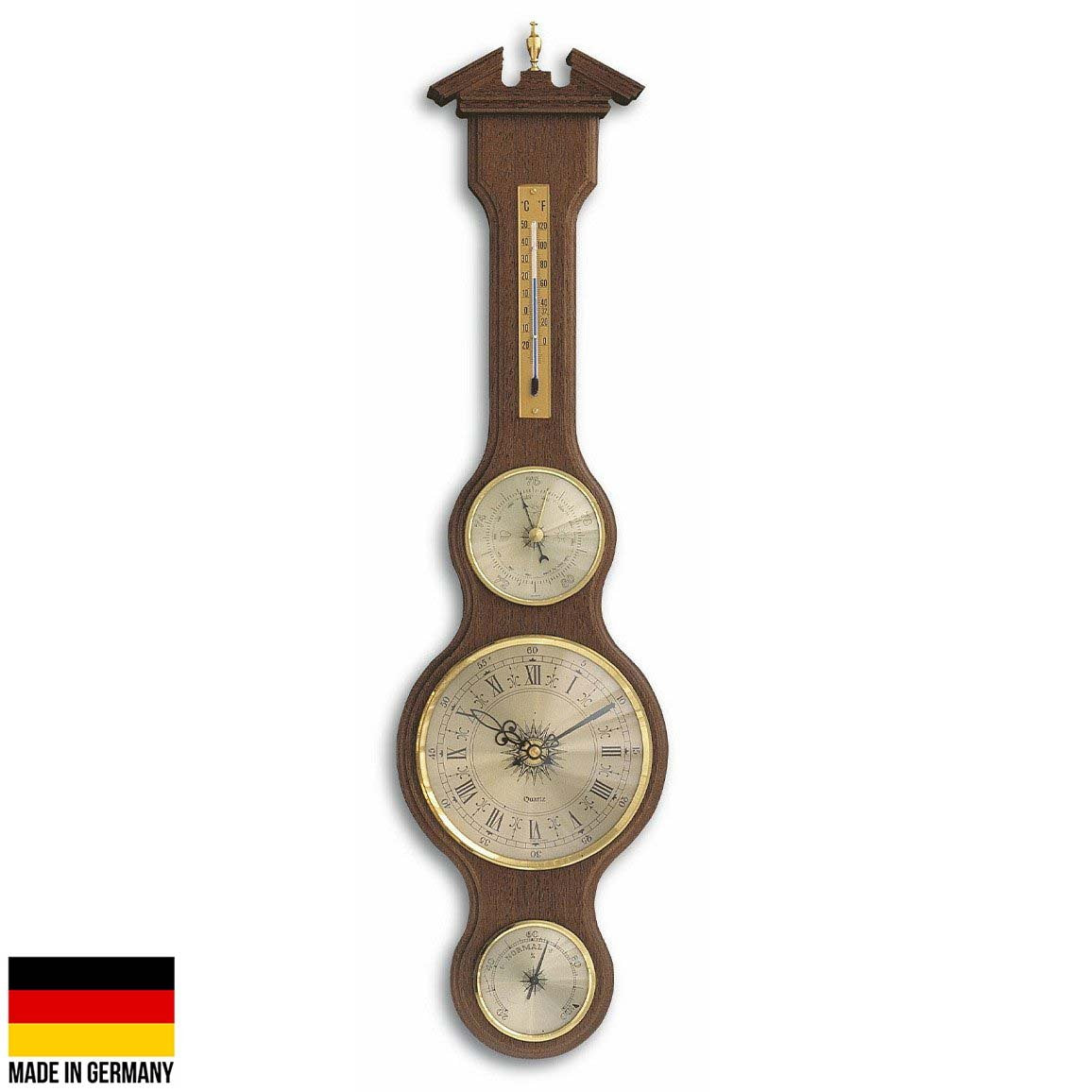 TFA Sheraton Analog Clock Weather Station Walnut Finish 60cm 45.3004.03 Front