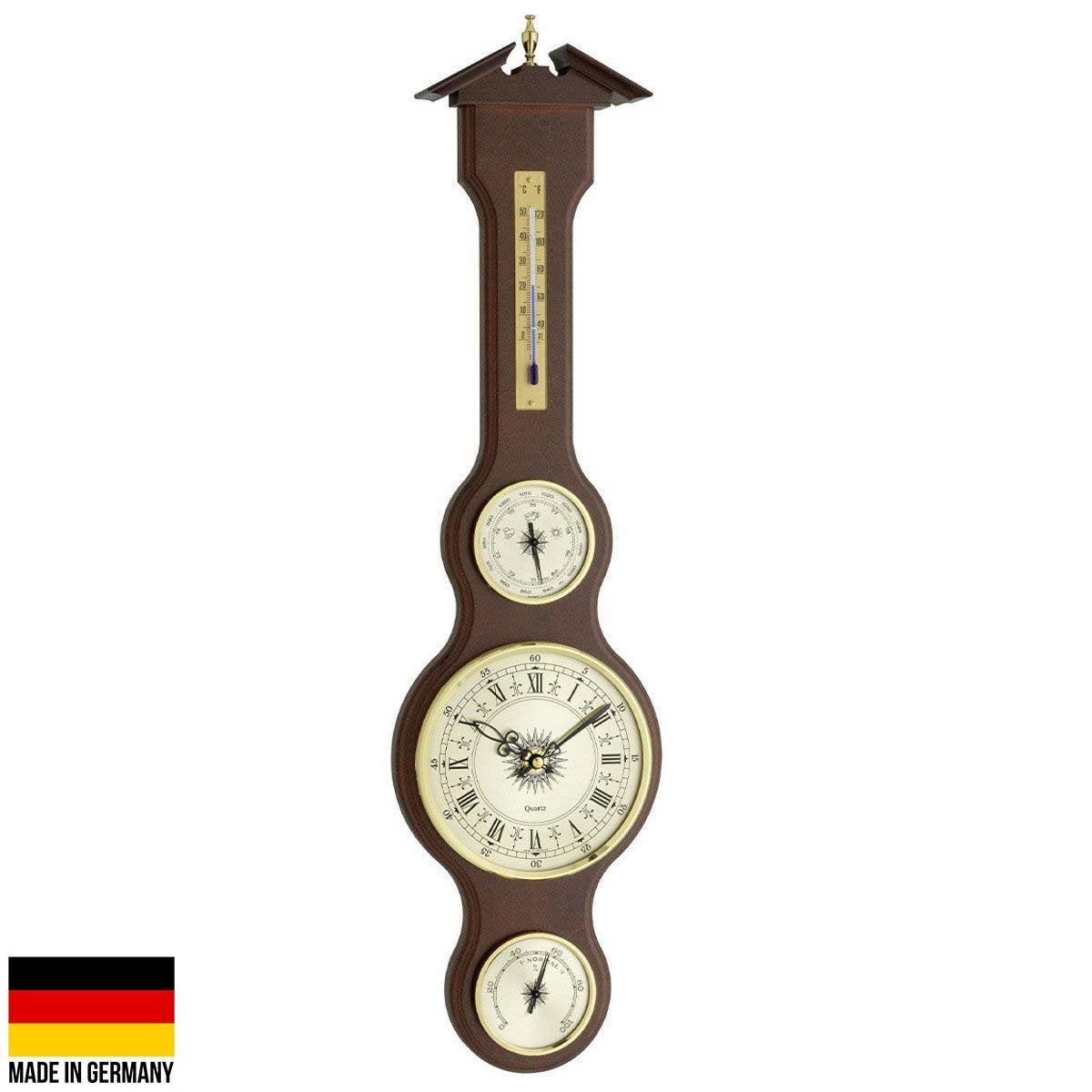 TFA Sheraton Analog Clock Weather Station Mahogany Finish 60cm 45.3004.044 Front