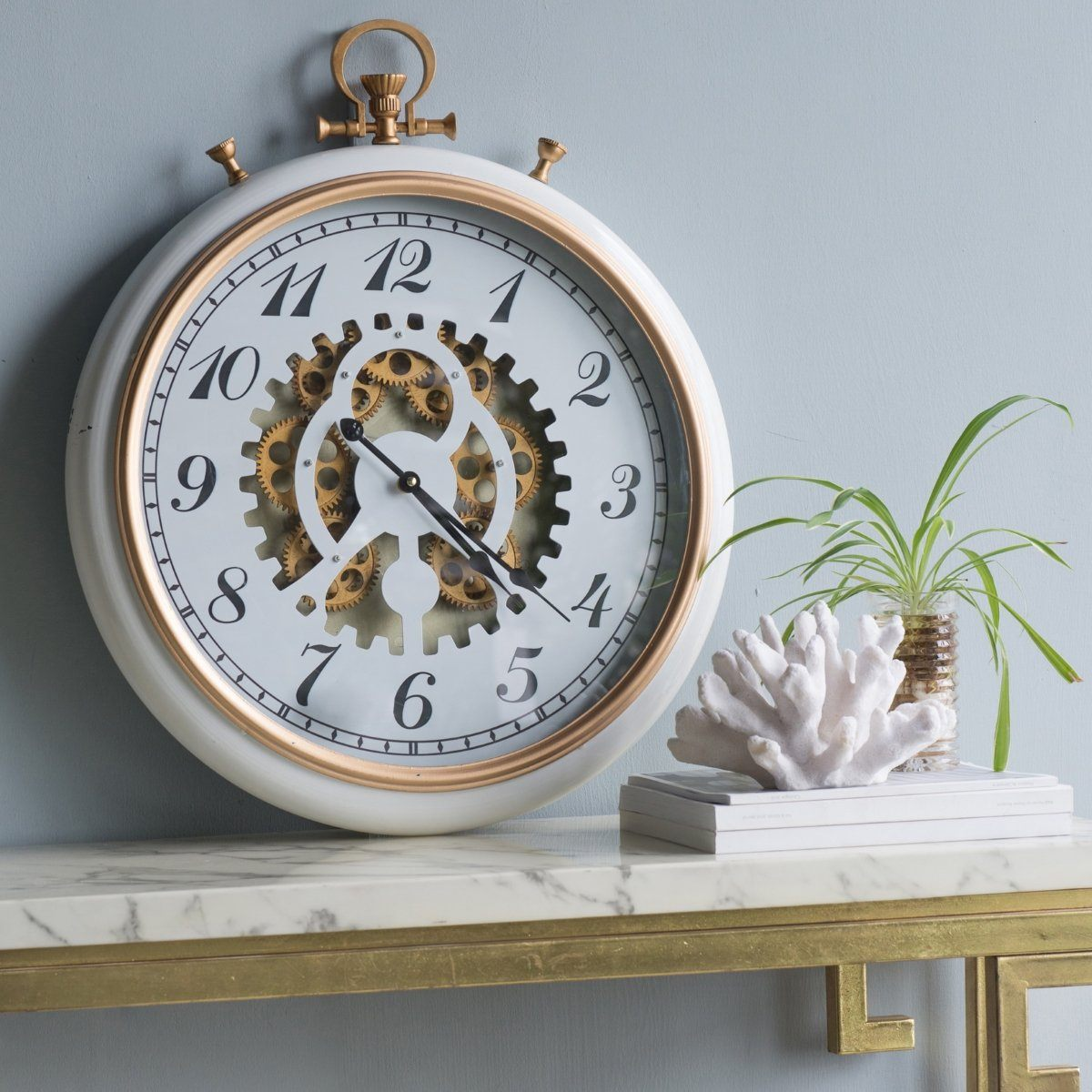 Adkisson Brass and Marble Gears FOB Pocket Wall Clock, 62cm