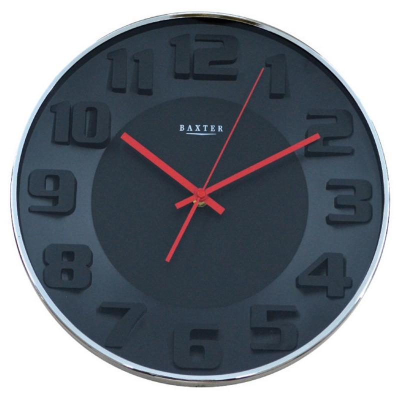 Baxter 3D Wall Clock, Black, 34cm