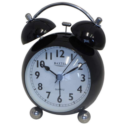 Baxter Bubble Twin Bell Alarm Clock Black 11cm BB3 BLK 1