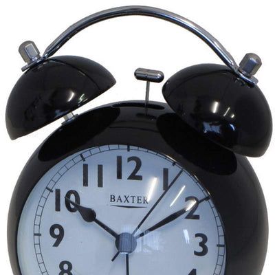 Baxter Bubble Twin Bell Alarm Clock Black 11cm BB3 BLK 2