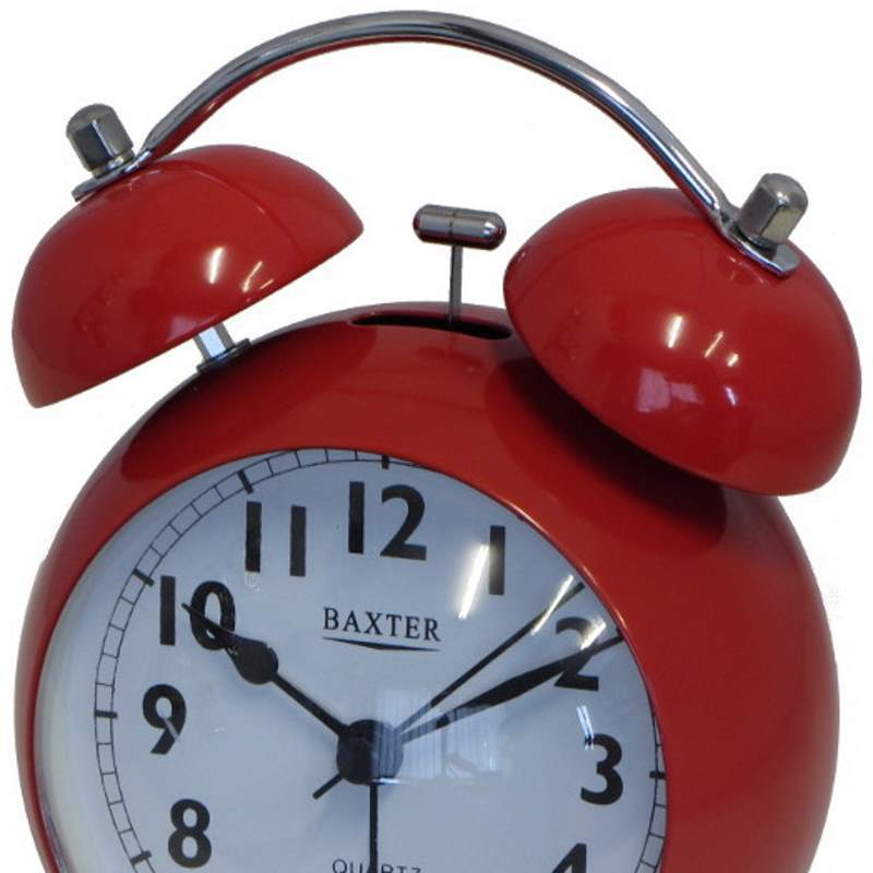 Baxter Bubble Twin Bell Alarm Clock, Red, 11cm
