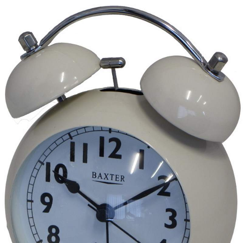 Baxter Bubble Twin Bell Alarm Clock, White, 11cm
