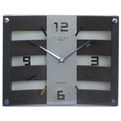 Baxter Crisscross Wood and Glass Wall Clock Walnut 31cm PW225D 1