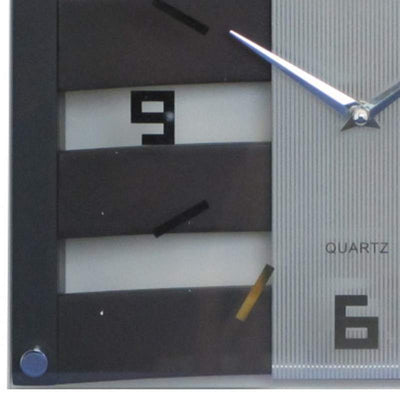 Baxter Crisscross Wood and Glass Wall Clock Walnut 31cm PW225D 3