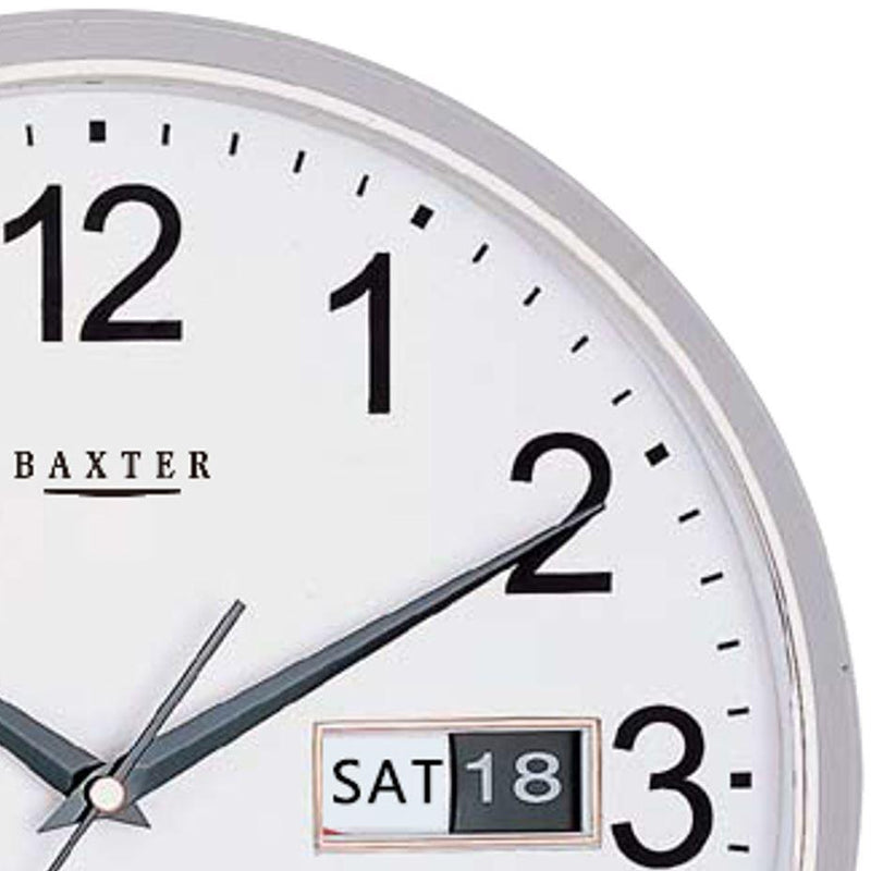 Baxter Elise Day Date Wall Clock, Silver, 32cm