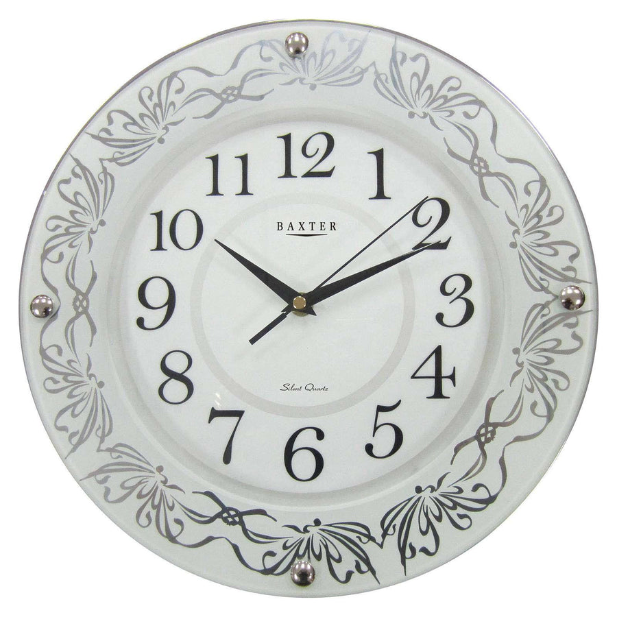 Baxter Glass Plate White Wall Clock 32cm PWA003WHT