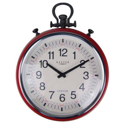Baxter Metal FOB Watch Wall Clock Red 45cm PG180RD