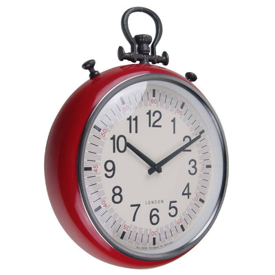 Baxter Metal FOB Wall Clock Red Angle 45cm PG180RD