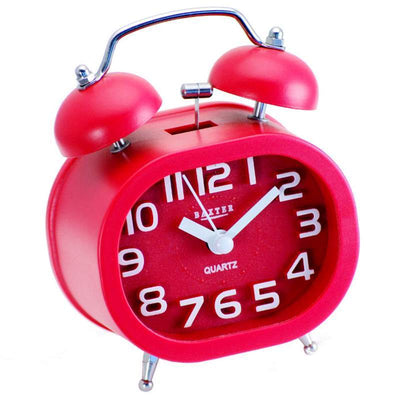 Baxter Oval Twin Bell Alarm Clock Red 12cm B30 RED 1