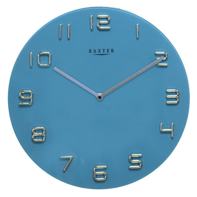 Baxter Round Glass Wall Clock Blue 35cm PW7007BLU