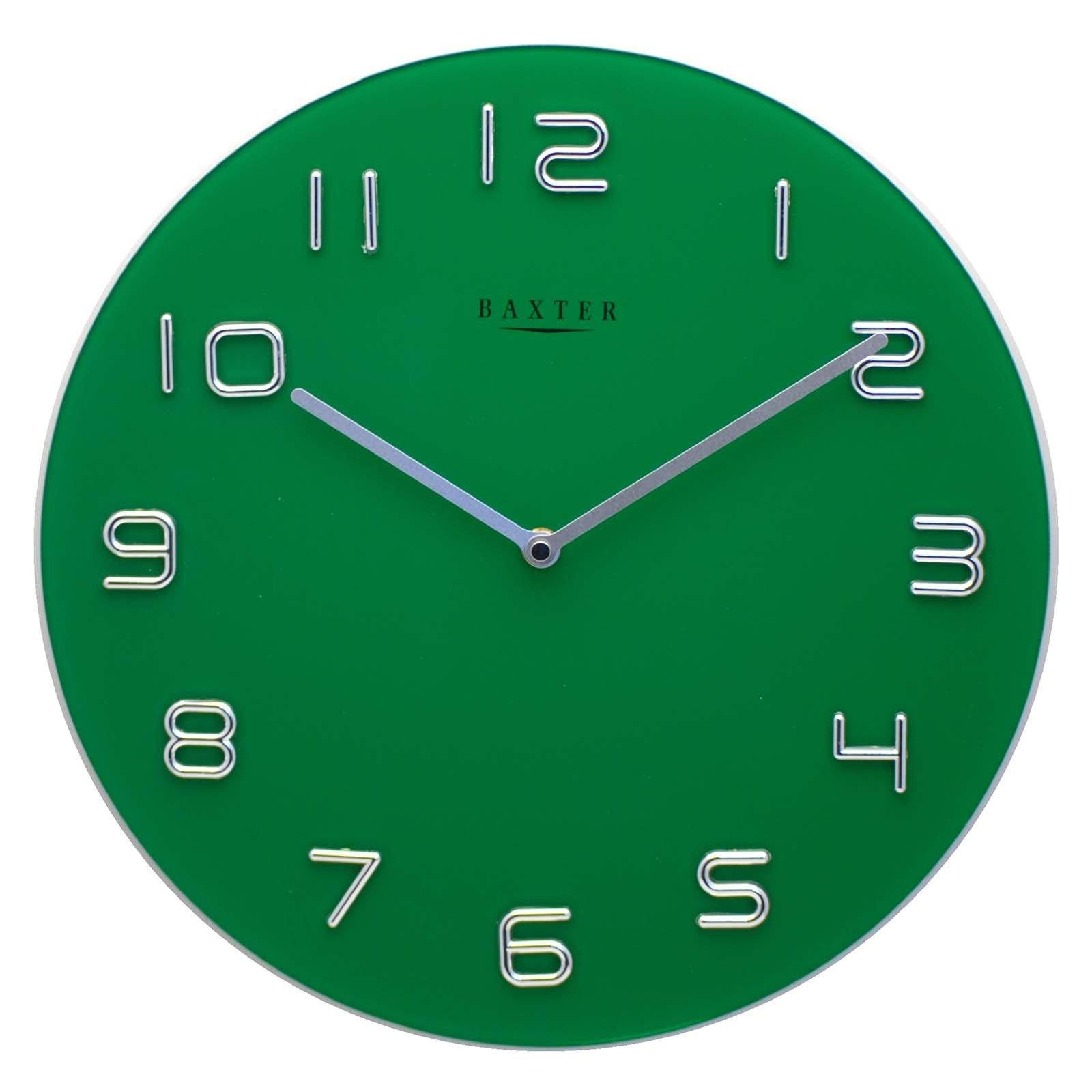 Baxter Round Glass Wall Clock Green 35cm PW7007GRN