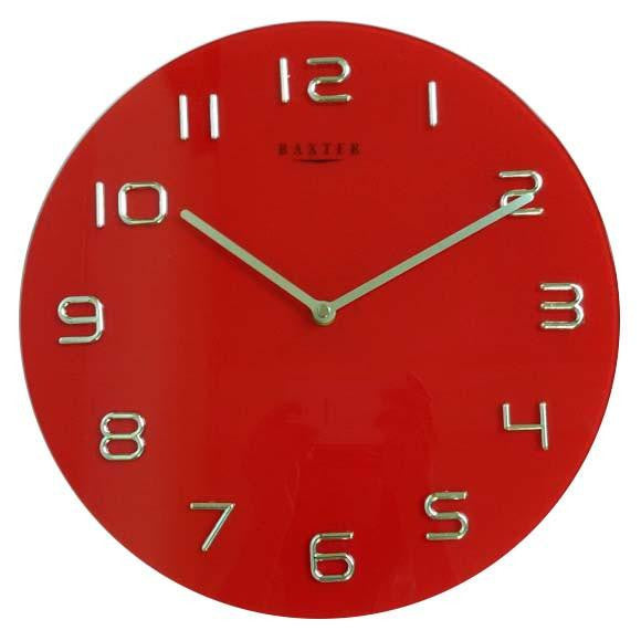 Baxter Round Glass Wall Clock Red 35cm PW7007RED