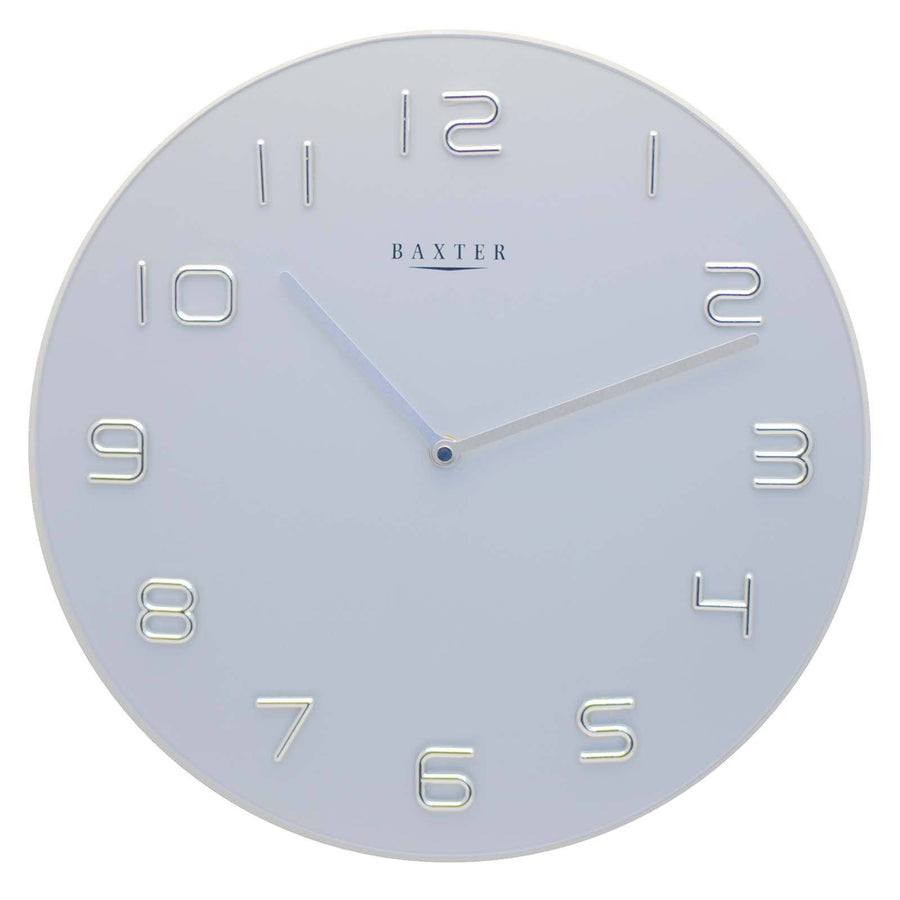 Baxter Round Glass Wall Clock Silver 35cm PW7007SIL