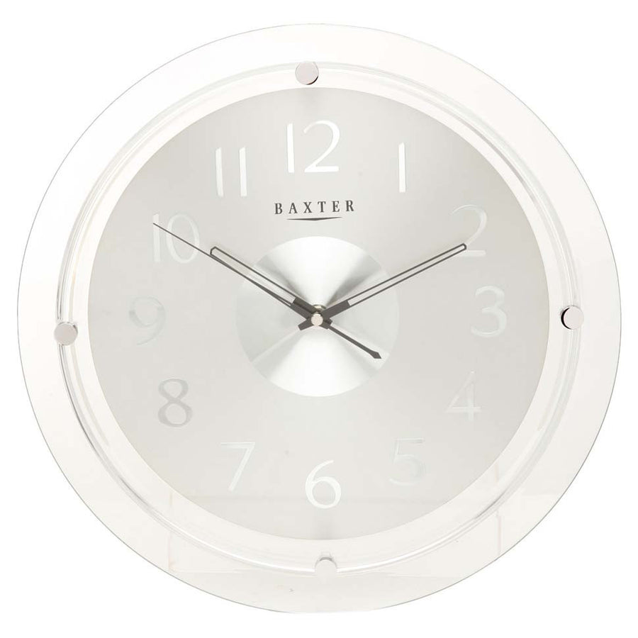 Baxter Round Silver Glass Wall Clock 35cm pw6233