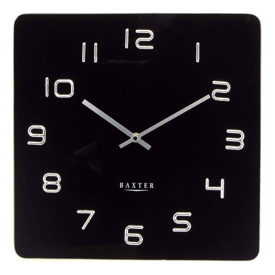 Baxter Square Glass Wall Clock, Black, 35cm