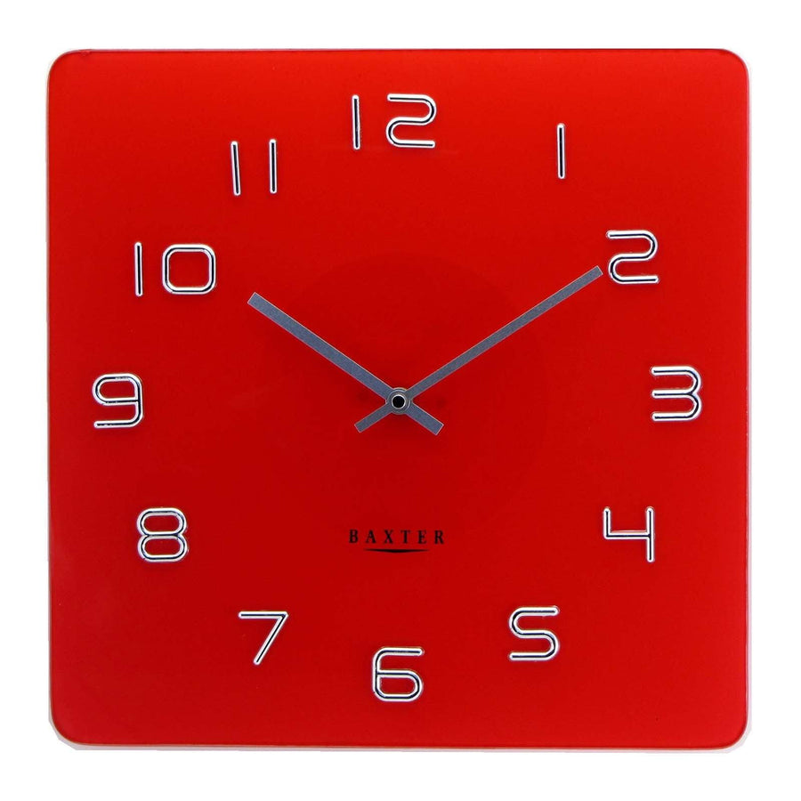 Baxter Square Glass Wall Clock Red 35cm PW7008RED