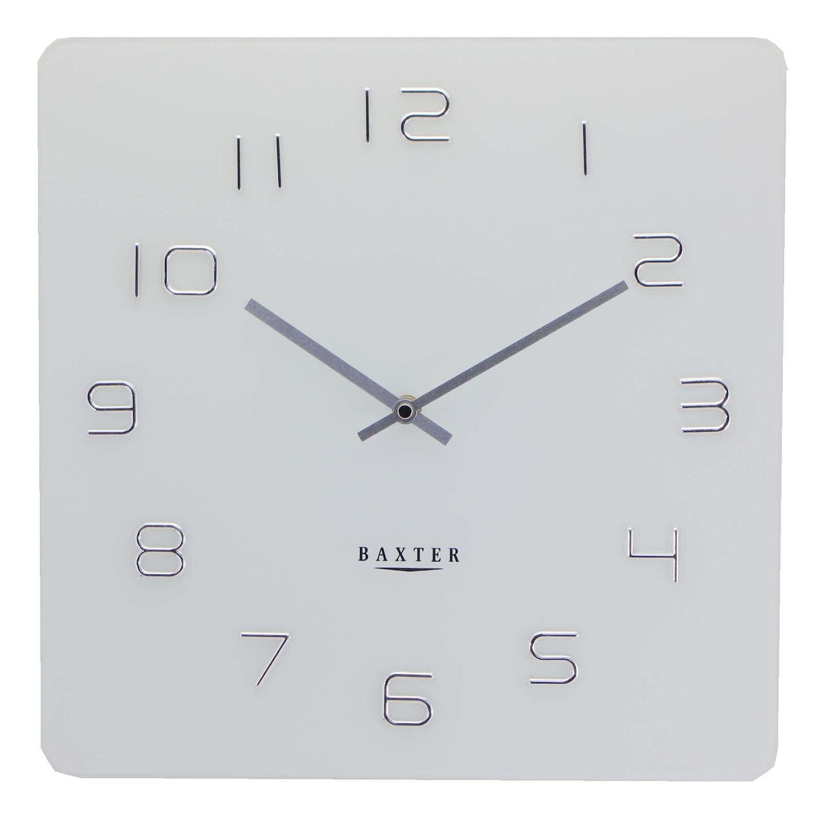 Buy Baxter Square Glass Wall Clock White 35cm Online Oh