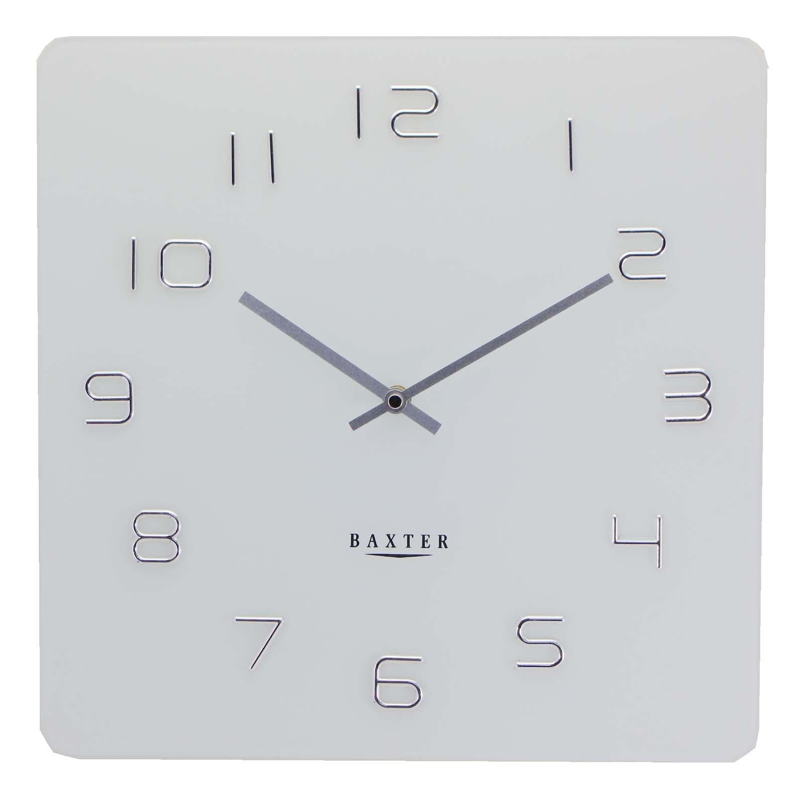 Baxter Square Glass Wall Clock White 35cm PW7008WHT
