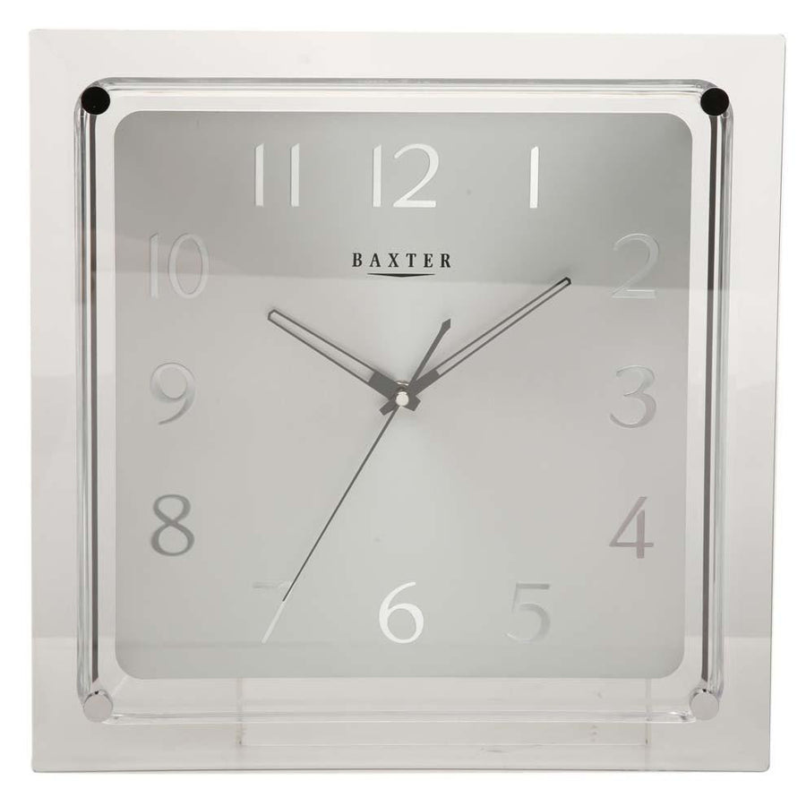 Baxter Square Silver Glass Wall Clock 35cm pw6232