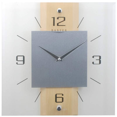 Baxter Timber and Glass Wall Clock Beech 32cm PW2231 1