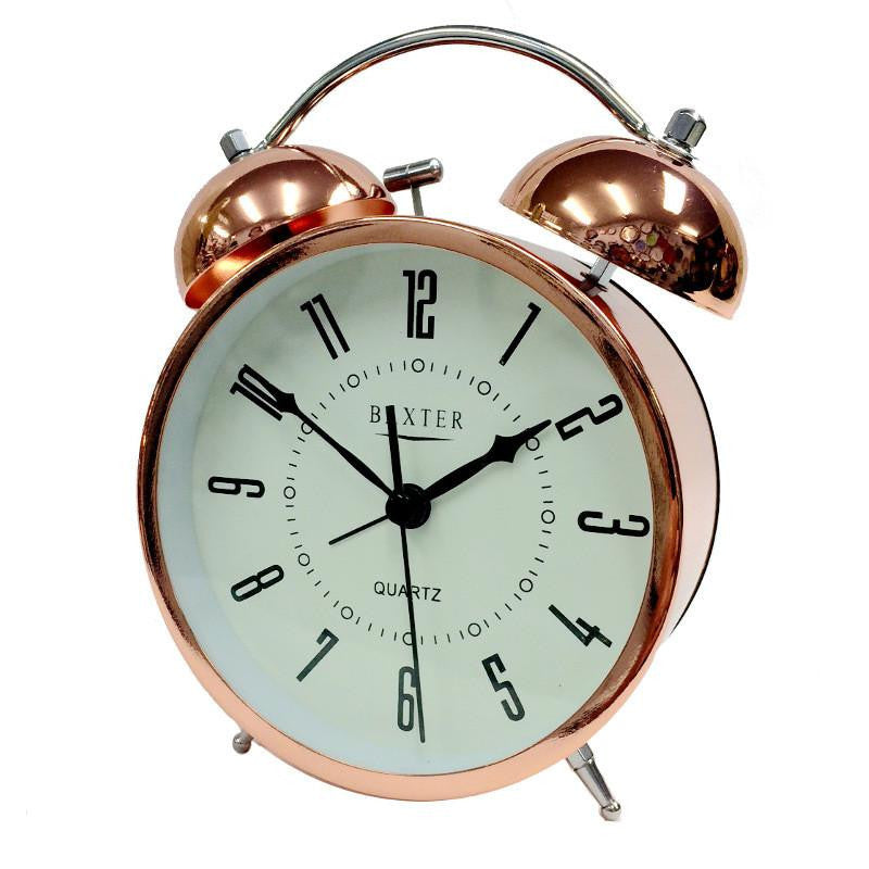 Baxter Twin Bell Alarm Clock, Copper, 11cm