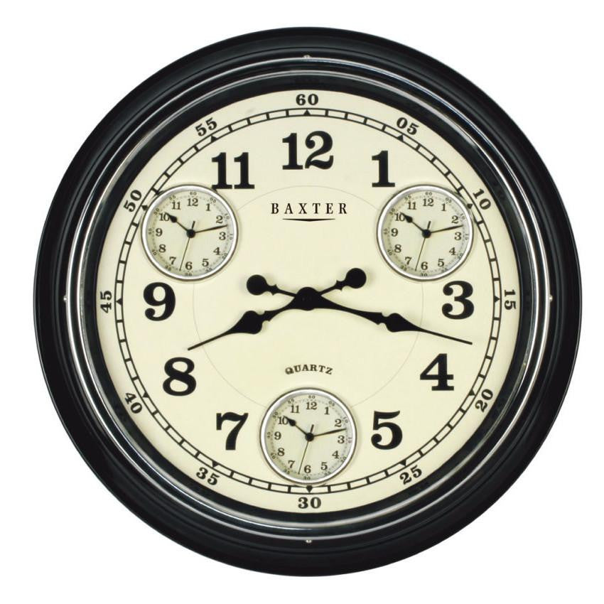 Baxter Vintage 4 Time Zone Wall Clock, Black, 51cm