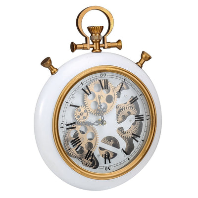 Alderson Brass and Marble Gears FOB Pocket Wall Clock 38cm Angle 42162