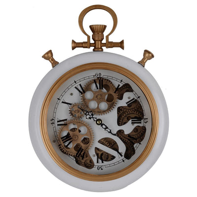 Alderson Brass and Marble Gears FOB Pocket Wall Clock 38cm Front 42162