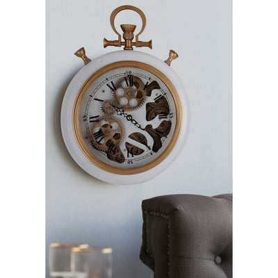 Alderson Brass and Marble Gears FOB Pocket Wall Clock 38cm Glamour 42162